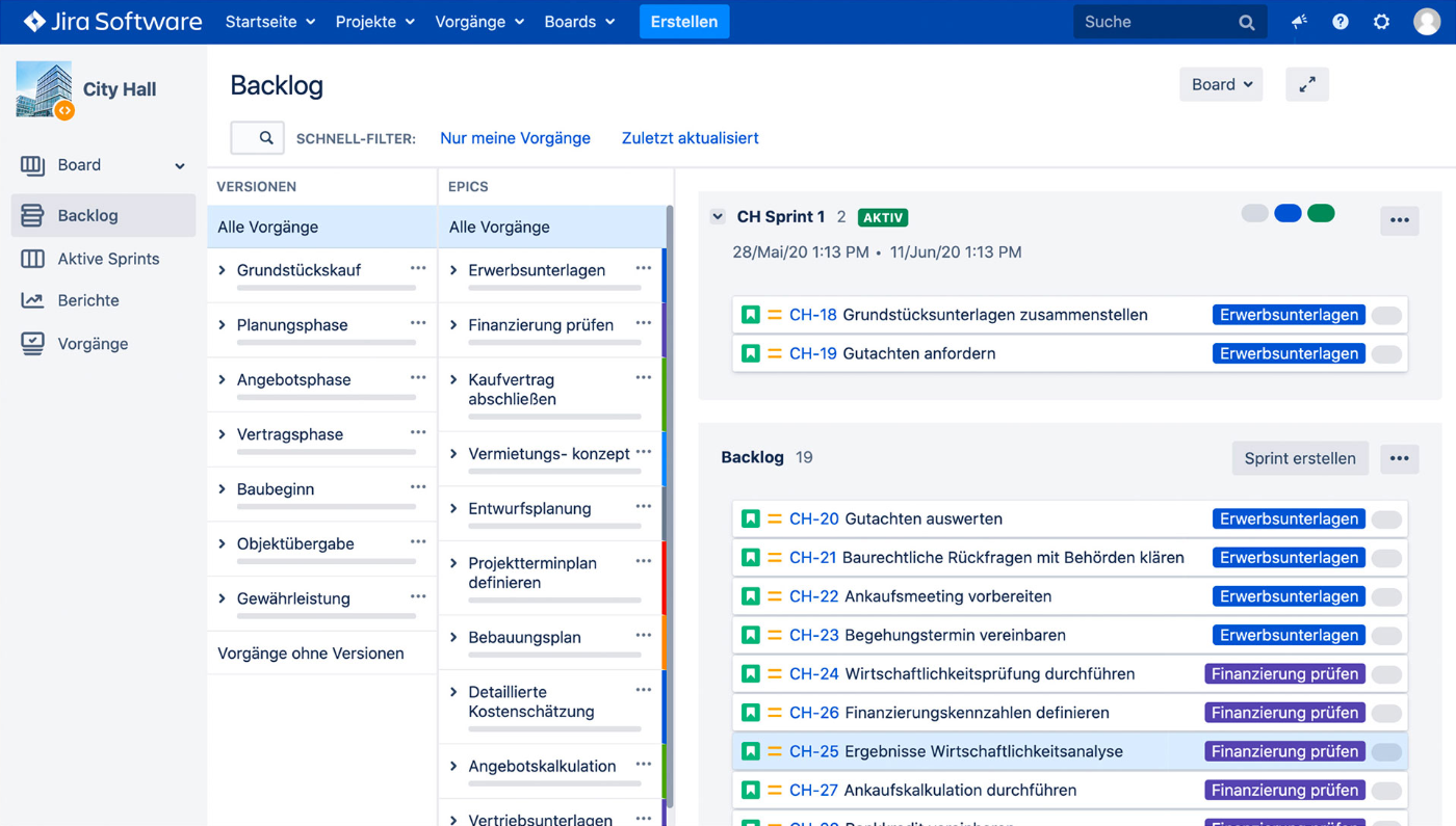 Screenshot Jira Software