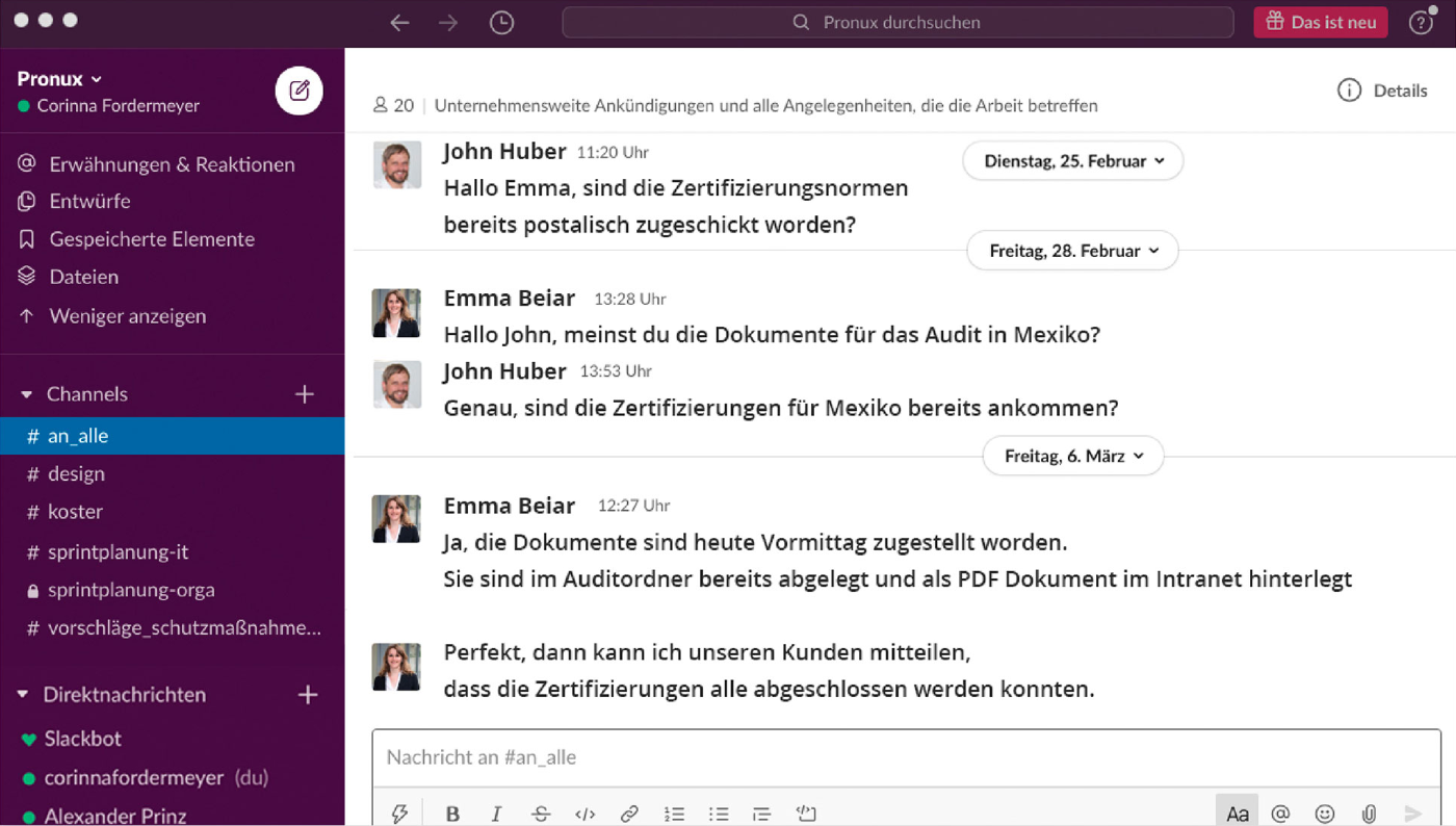 Screenshot Slack Software