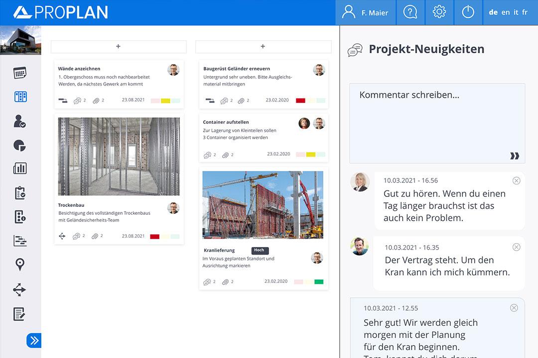 proplan aufgabenplanung news feed projektneuigkeiten